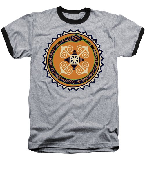 Ouroboros With Devine Fire Wheel Baseball T-Shirt by Vagabond Folk Art - Virginia Vivier