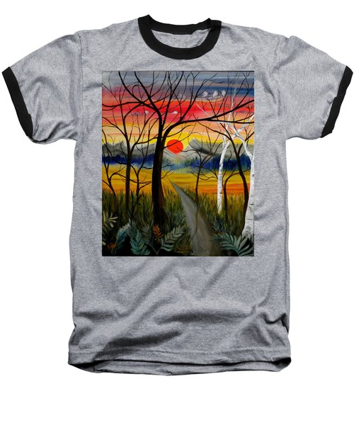 Baseball T-Shirt featuring the painting Out Of The Woods by Renate Nadi Wesley