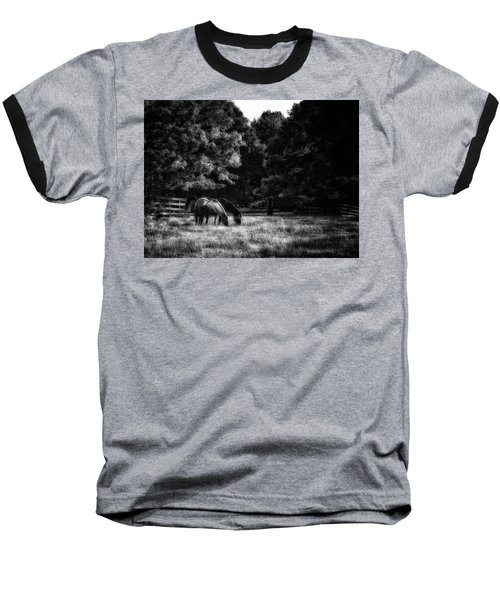 Out To Pasture Bw Baseball T-Shirt by Mark Fuller