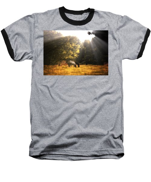 Out To Pasture Baseball T-Shirt by Mark Fuller