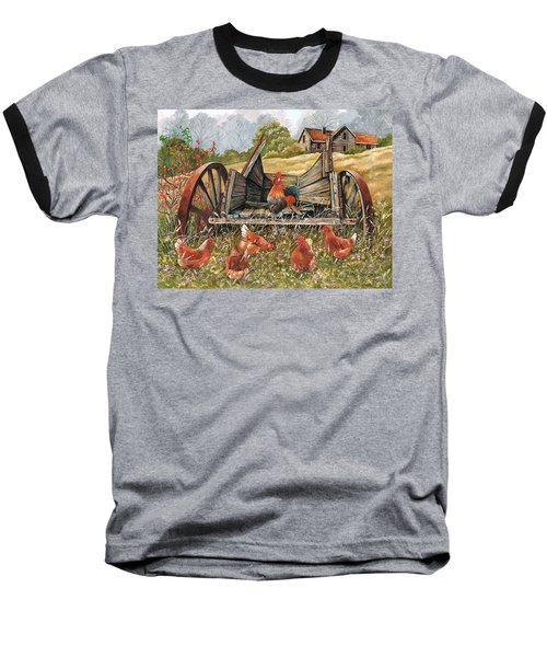 Baseball T-Shirt featuring the painting Waggon Pals by Val Stokes