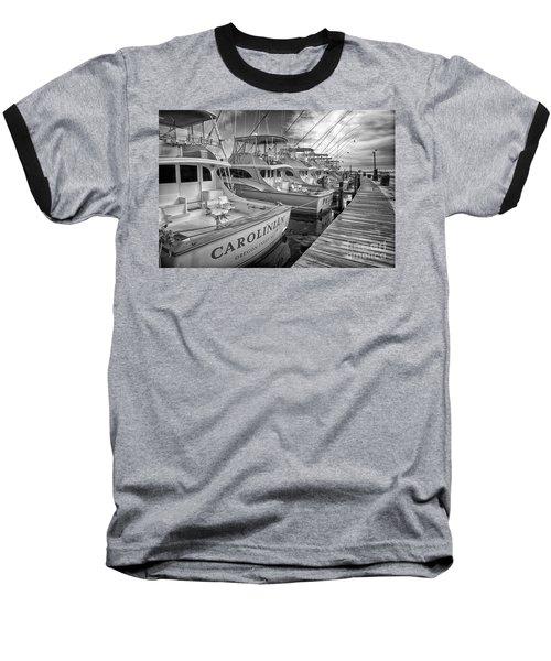 Outer Banks Fishing Boats Waiting Bw Baseball T-Shirt by Dan Carmichael