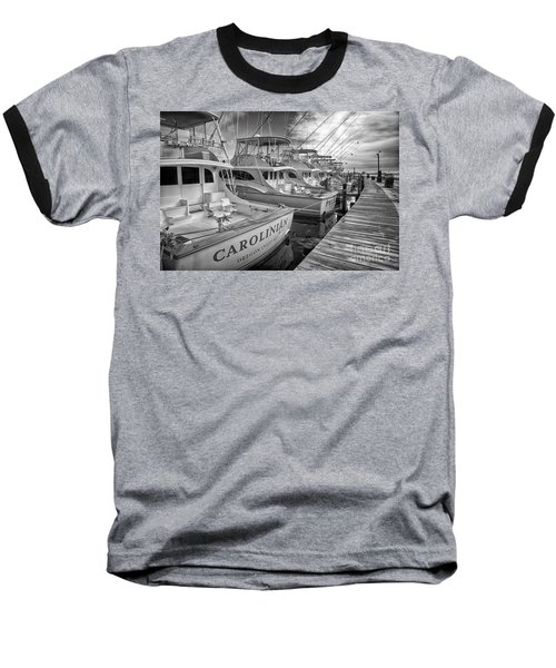 Outer Banks Fishing Boats Waiting Bw Baseball T-Shirt