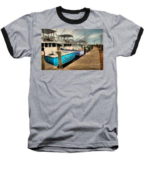 Outer Banks Fishing Boats Waiting Baseball T-Shirt by Dan Carmichael
