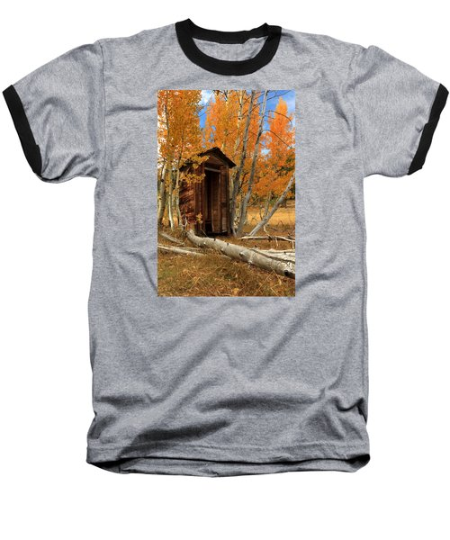 Outhouse In The Aspens Baseball T-Shirt by James Eddy