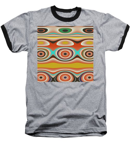 Ovals And Circles Pattern Design Baseball T-Shirt by Jessica Wright