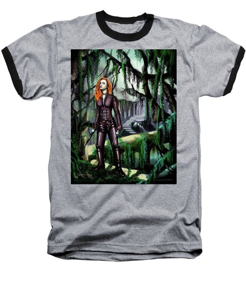 Baseball T-Shirt featuring the painting Over The Bridge by James Christopher Hill