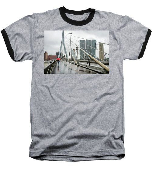 Baseball T-Shirt featuring the photograph Over The Erasmus Bridge In Rotterdam With Red Umbrella by RicardMN Photography