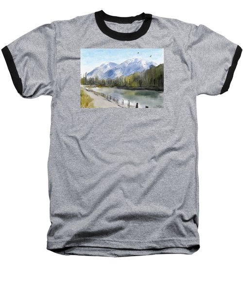 Baseball T-Shirt featuring the painting Over The Mountains by Wayne Pascall