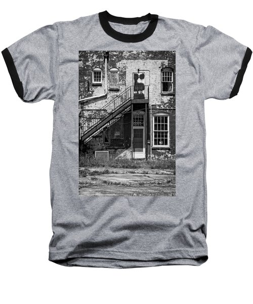 Baseball T-Shirt featuring the photograph Over Under The Stairs - Bw by Christopher Holmes