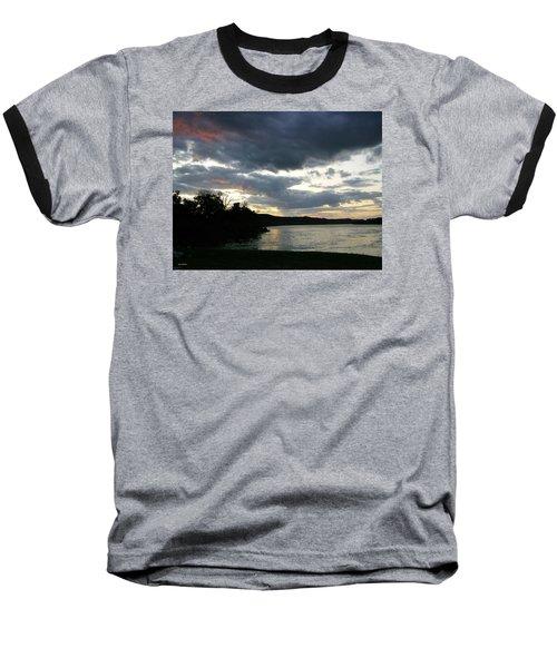 Overcast Morning Along The River Baseball T-Shirt by Skyler Tipton