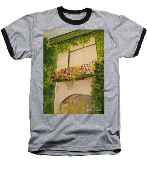 Baseball T-Shirt featuring the painting Overlooking Butchard Gardens  by Vicki  Housel