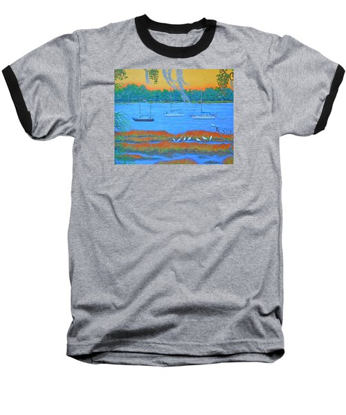 Baseball T-Shirt featuring the painting Overnight In Beaufort by Dwain Ray