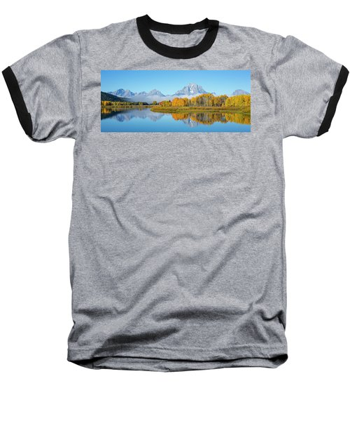 Oxbow Bend Pano In Autumn Baseball T-Shirt