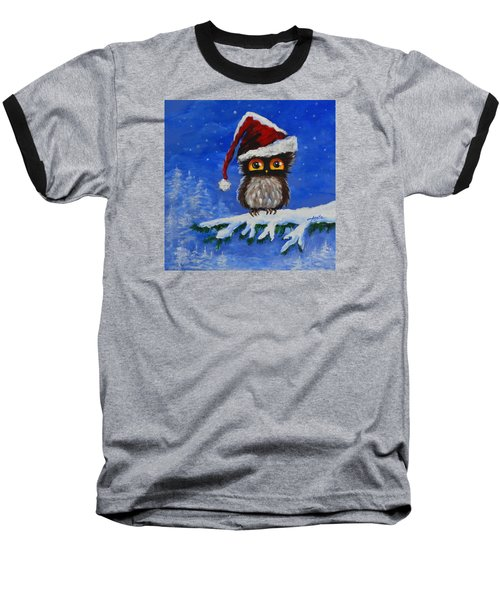 Baseball T-Shirt featuring the painting Owl Be Home For Christmas by Agata Lindquist