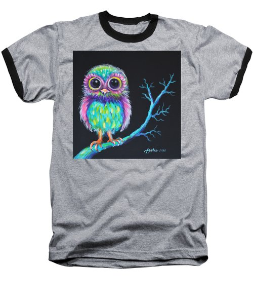 Baseball T-Shirt featuring the painting Owl Be Your Girlfriend by Agata Lindquist