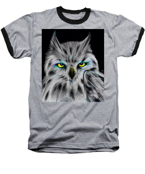 Baseball T-Shirt featuring the drawing Owl Eyes  by Nick Gustafson