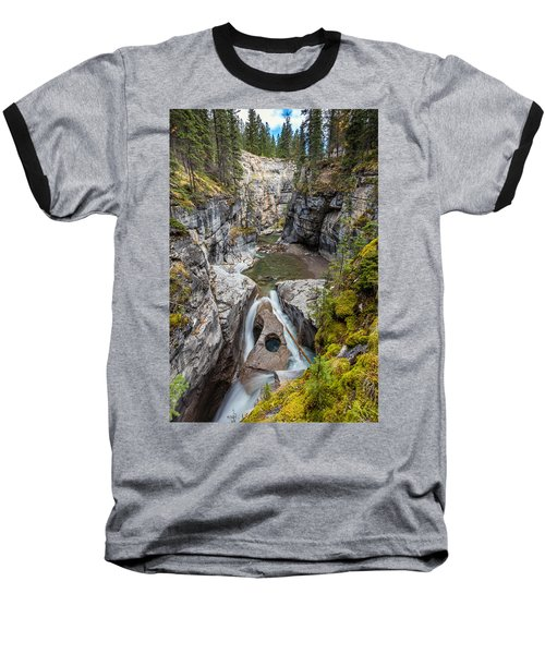 Baseball T-Shirt featuring the photograph Owl Face Falls Of Maligne Canyon by Pierre Leclerc Photography