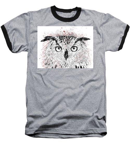 Owl Sketch Pen Portrait Baseball T-Shirt