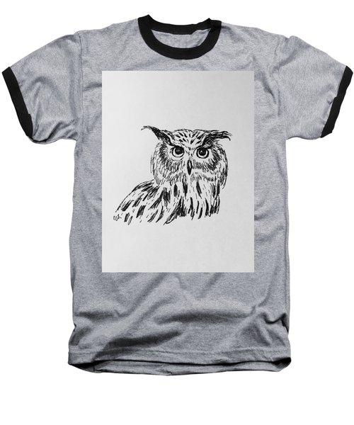 Owl Study 2 Baseball T-Shirt by Victoria Lakes