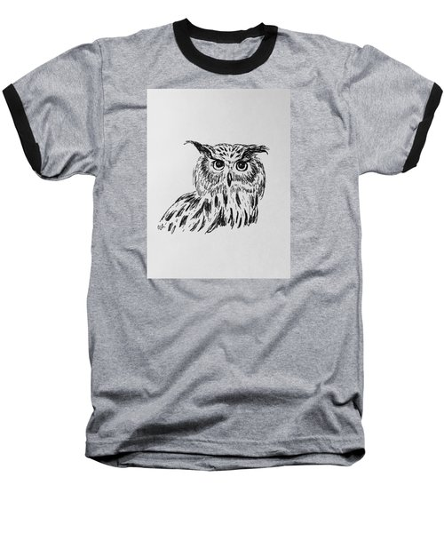Baseball T-Shirt featuring the drawing Owl Study 2 by Victoria Lakes