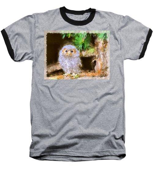 Baseball T-Shirt featuring the digital art Owlet-baby Owl by Maciek Froncisz