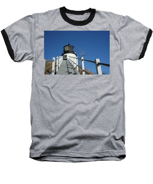 Owls Head Lighthouse Winter Baseball T-Shirt