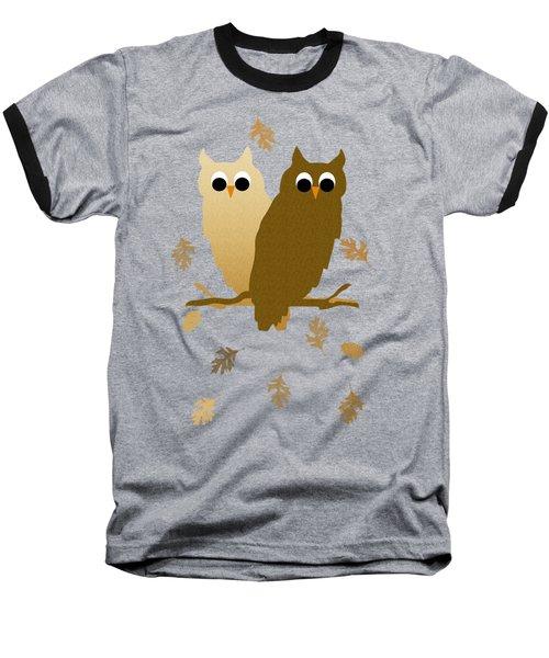 Owls Pattern Art Baseball T-Shirt by Christina Rollo