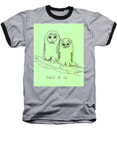 Baseball T-Shirt featuring the drawing Owlz R Us by Denise Fulmer