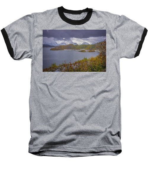 Oxbow Bend Fall Snowfall Baseball T-Shirt