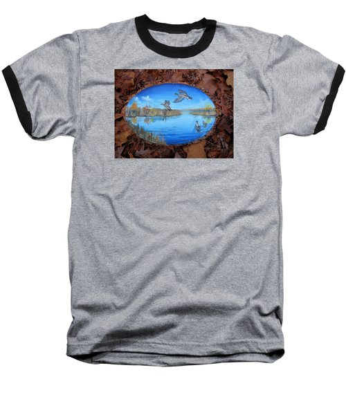 Oyster Creek Flock Baseball T-Shirt by Kevin F Heuman