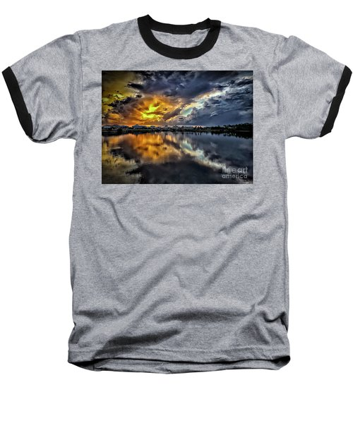 Oyster Lake Sunset Baseball T-Shirt