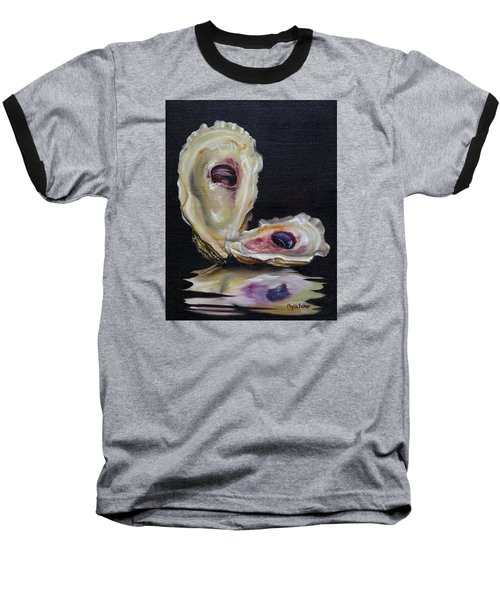 Oyster Shell Reflections Baseball T-Shirt by Phyllis Beiser