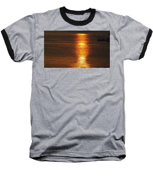 Ozark Lake Sunset Baseball T-Shirt by Don Koester