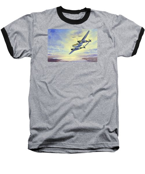 Baseball T-Shirt featuring the painting P-38 Lightning Aircraft by Bill Holkham