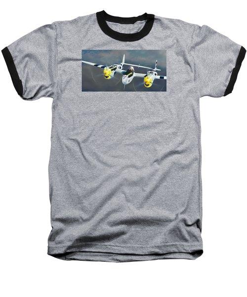 P-38 On The Prowl Baseball T-Shirt by Douglas Castleman