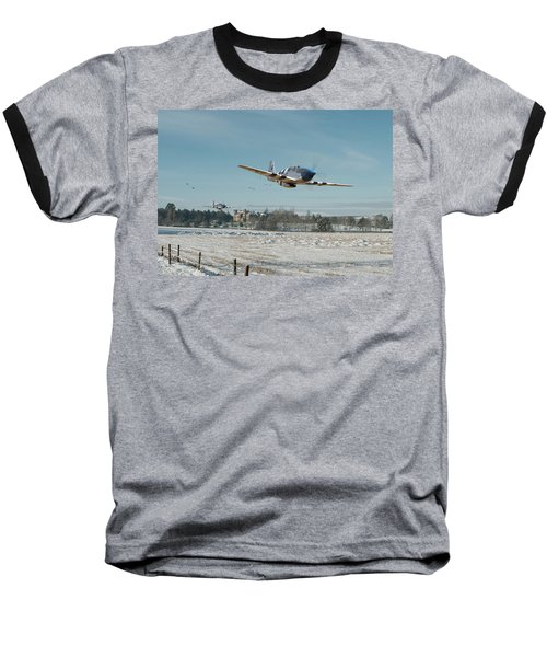 Baseball T-Shirt featuring the digital art P51 Mustang - Bodney Blue Noses by Pat Speirs