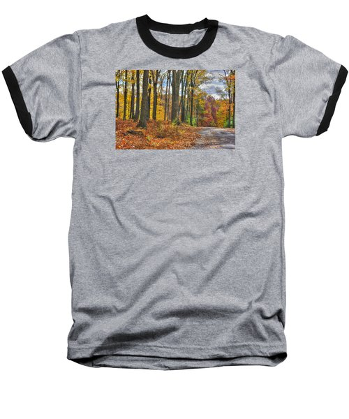 Pa Country Roads - Autumn Colorfest No. 3 - Fire In The Woods - Northumberland County Baseball T-Shirt by Michael Mazaika