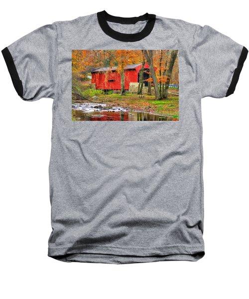 Pa Country Roads- Bartrams / Goshen Covered Bridge Over Crum Creek No.11 Chester / Delaware Counties Baseball T-Shirt by Michael Mazaika