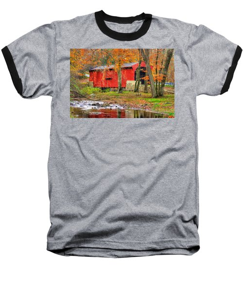 Pa Country Roads- Bartrams / Goshen Covered Bridge Over Crum Creek No.11 Chester / Delaware Counties Baseball T-Shirt