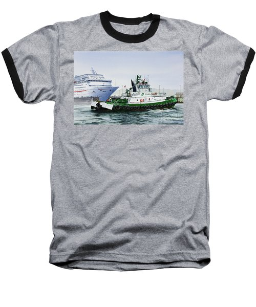 Baseball T-Shirt featuring the painting Pacific Escort Cruise Ship Assist by James Williamson