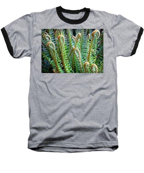 Pacific Ferns Baseball T-Shirt by Martin Konopacki