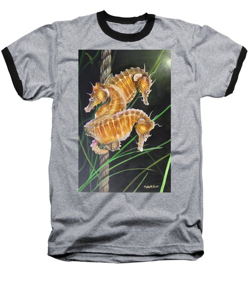 Pacific Lined Seahorse Trio Baseball T-Shirt by Phyllis Beiser