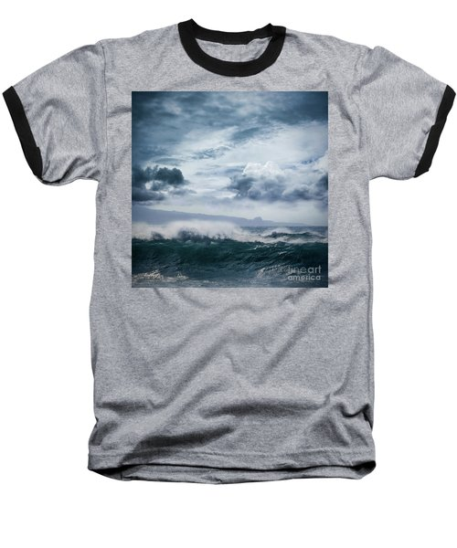 Baseball T-Shirt featuring the photograph He Inoa Wehi No Hookipa  Pacific Ocean Stormy Sea by Sharon Mau