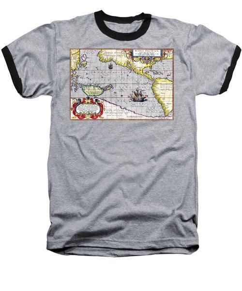 Pacific Ocean Vintage Map Baseball T-Shirt