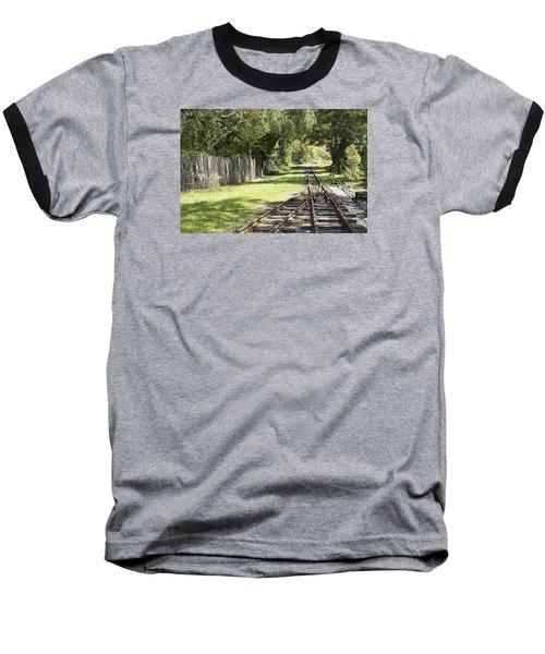 Padarn Lake Railway Baseball T-Shirt by Christopher Rowlands