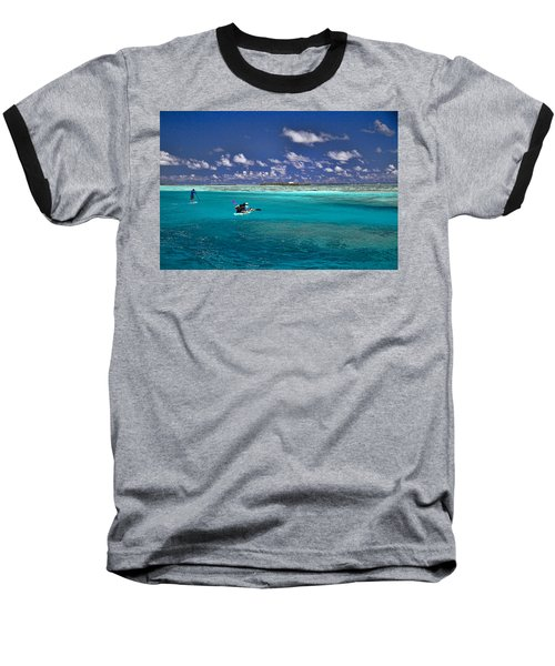 Paddling In Moorea Baseball T-Shirt by David Smith