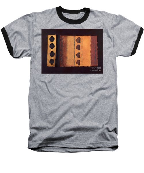 Baseball T-Shirt featuring the mixed media Page Format No 3 Tansitional Series   by Kerryn Madsen-Pietsch