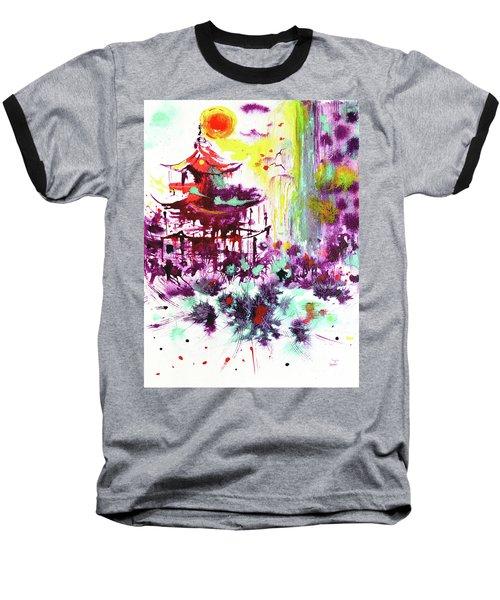 Baseball T-Shirt featuring the painting Pagoda by Zaira Dzhaubaeva