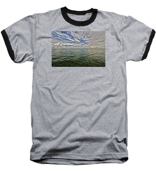 Paint Brush Sky - Ft Myers Beach Baseball T-Shirt by Christopher L Thomley